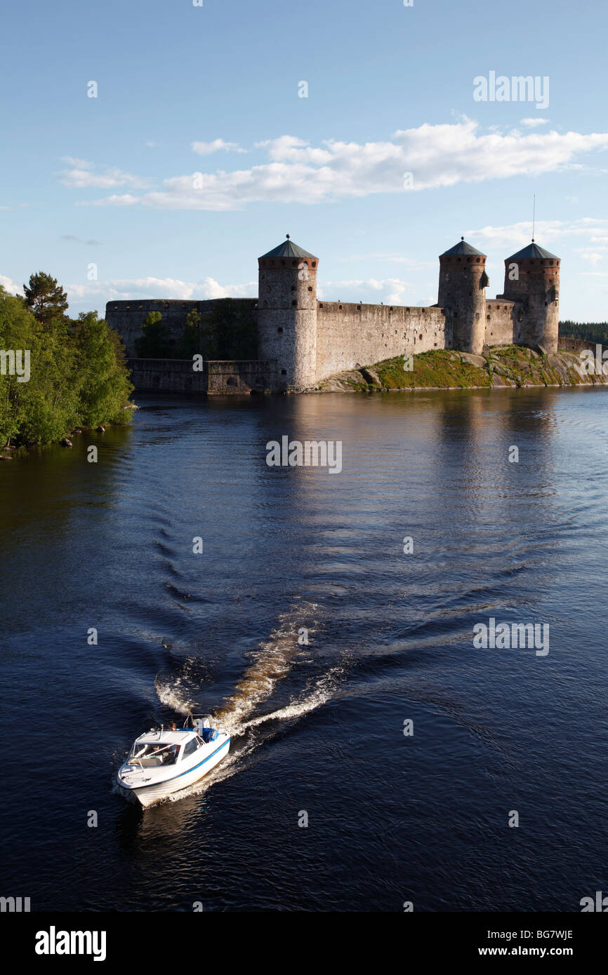 Finland Region of Southern Savonia Saimaa Lake District Savonlinna Kyronsalmi Straits Olavinlinna Medieval Castle Stock Photo
