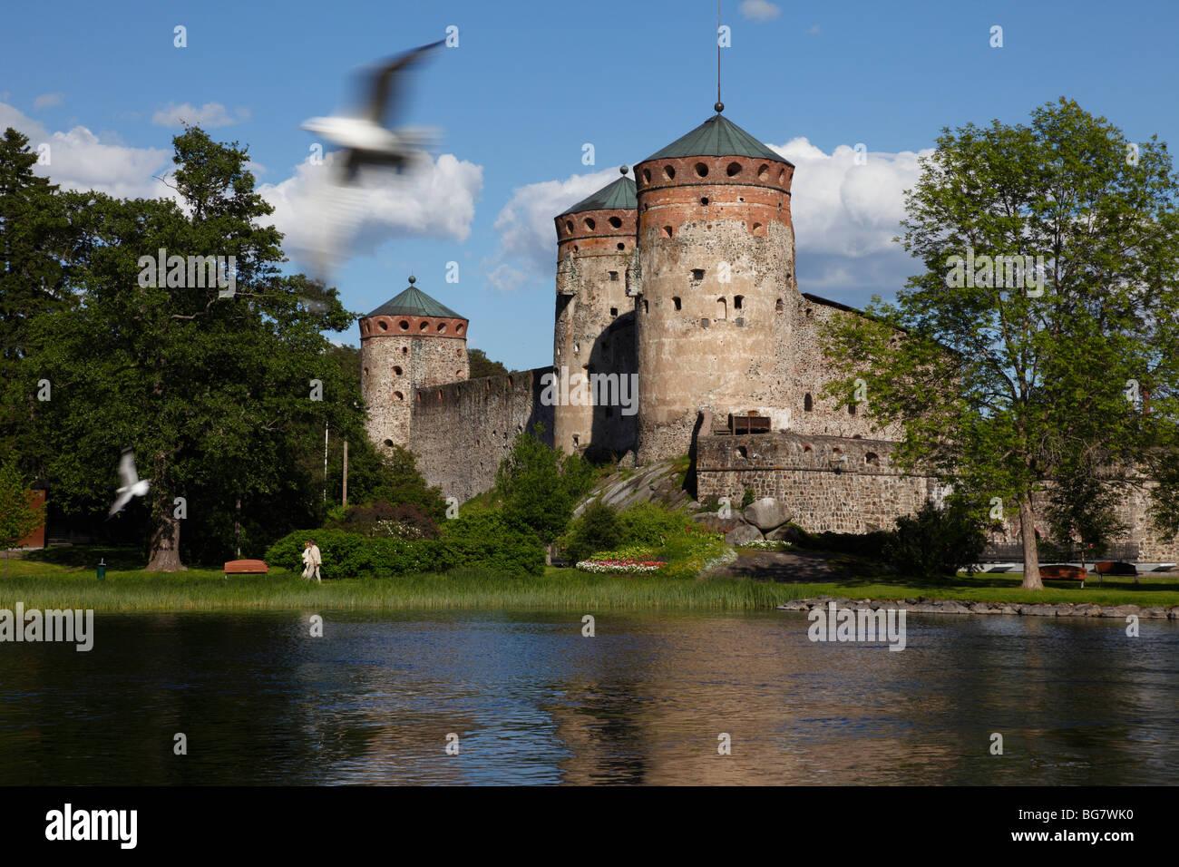 Finland Region of Southern Savonia Saimaa Lake District Savonlinna Kyronsalmi Straits Olavinlinna Medieval Castle - Stock Image