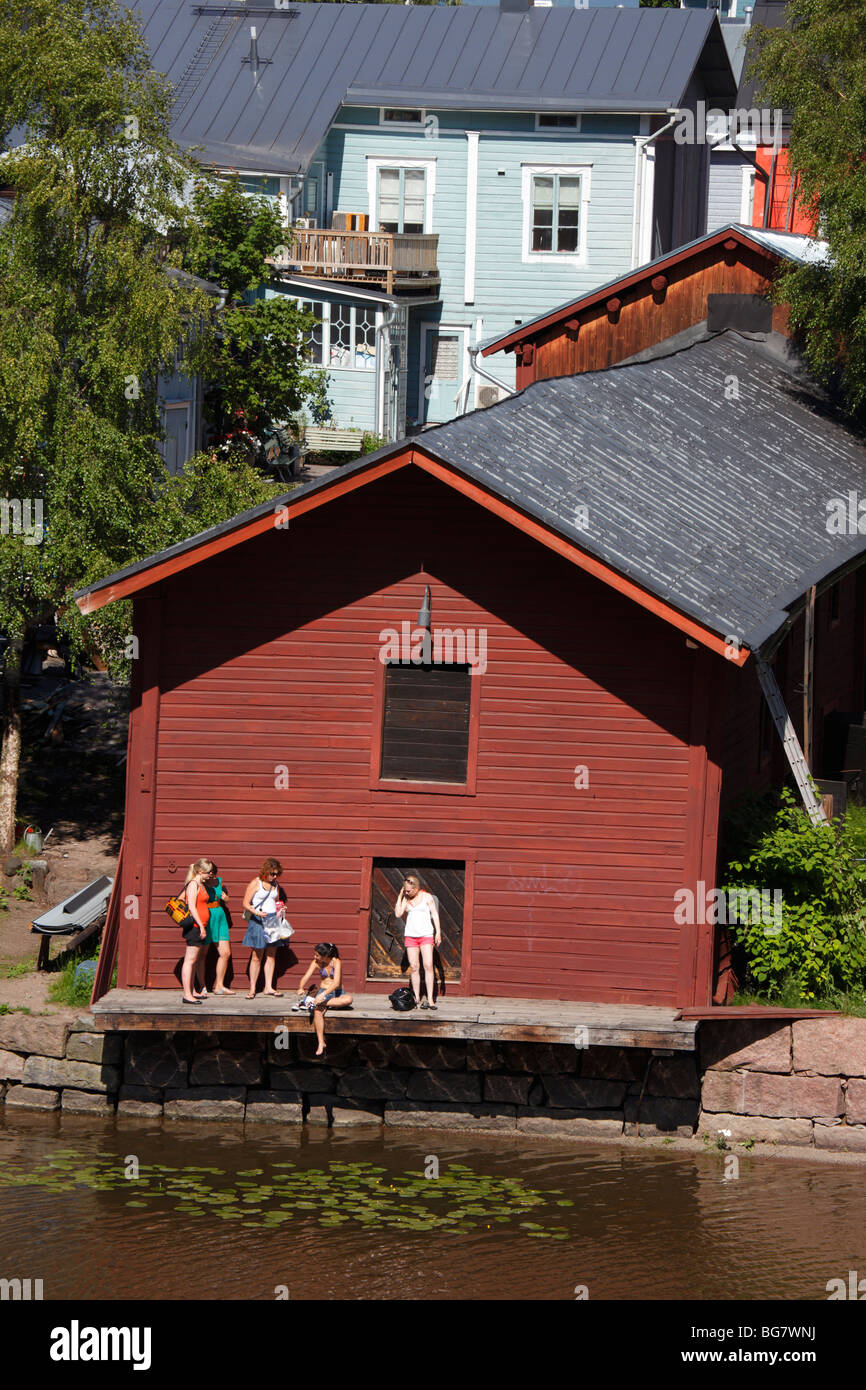 Finland Southern Finland Eastern Uusimaa Porvoo River Porvoonjoki Medieval Red Hut Riverside Granary Warehouse Group - Stock Image