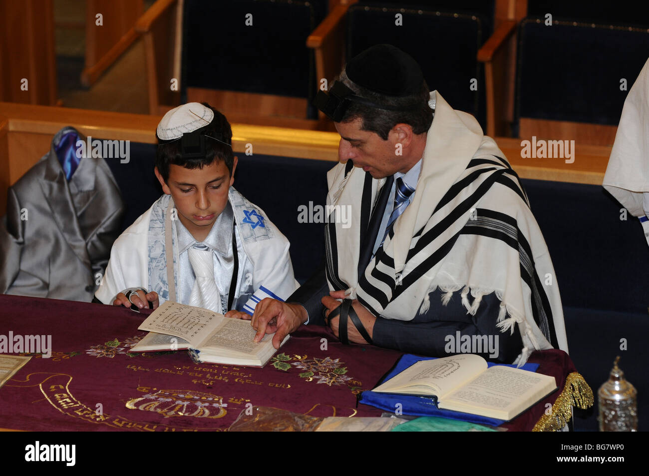 France, Paris, Interior of a synagogue Bar Mitzvah ceremony - Stock Image