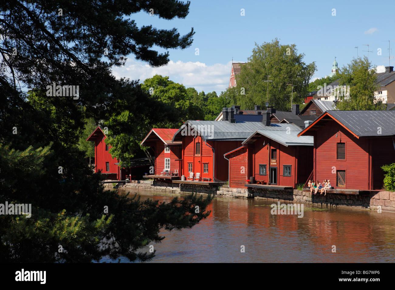 Finland, Southern Finland, Eastern Uusimaa, Porvoo, River Porvoonjoki, Medieval Red Hut Riverside Granary Warehouses - Stock Image