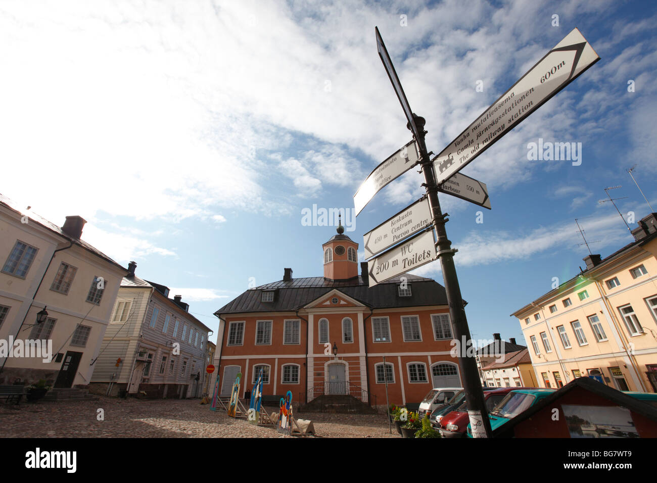Finland, Southern Finland, Eastern Uusimaa, Porvoo, Market Square, Old Town Hall, Medieval Wooden Houses, Sign for - Stock Image
