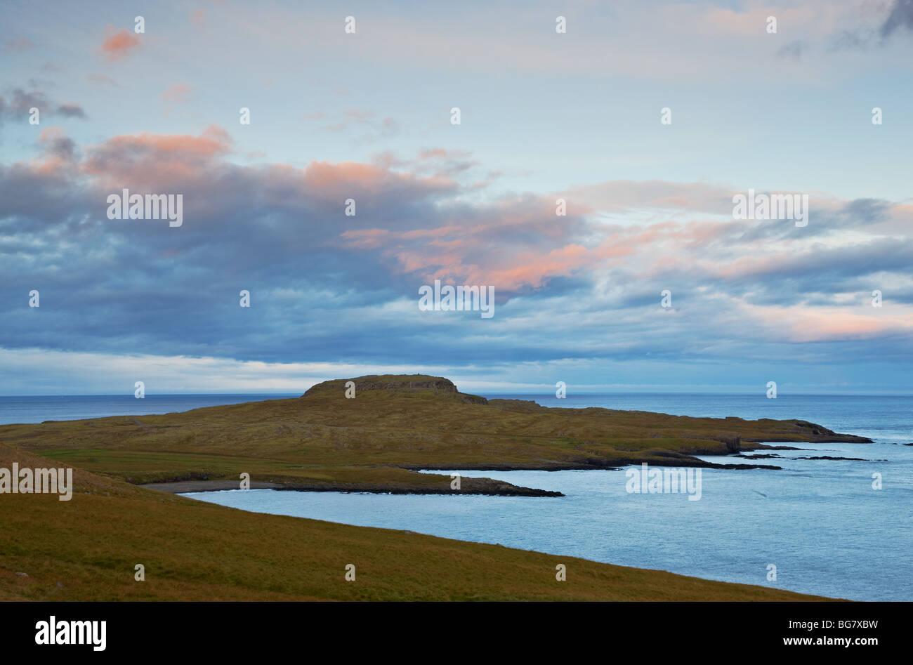 Sunset in Faskrudsfjordur, East Fjords, Iceland - Stock Image
