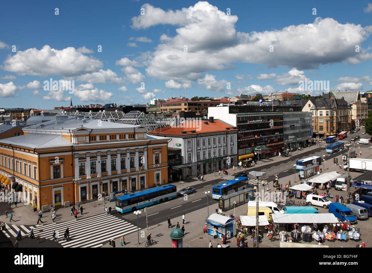 Finland Region of Finland Proper Western Finland Turku Market Square Kauppatori Square Abo Svenska Teater The Swedish - Stock Image