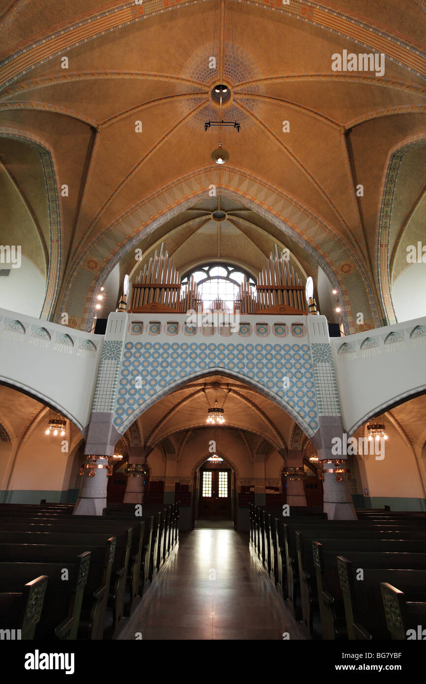 Finland, Western Finland, Turku, Church of St. Michael by Lars Sonck, Pews, Rows of Seating, Aisle, Interior Stock Photo