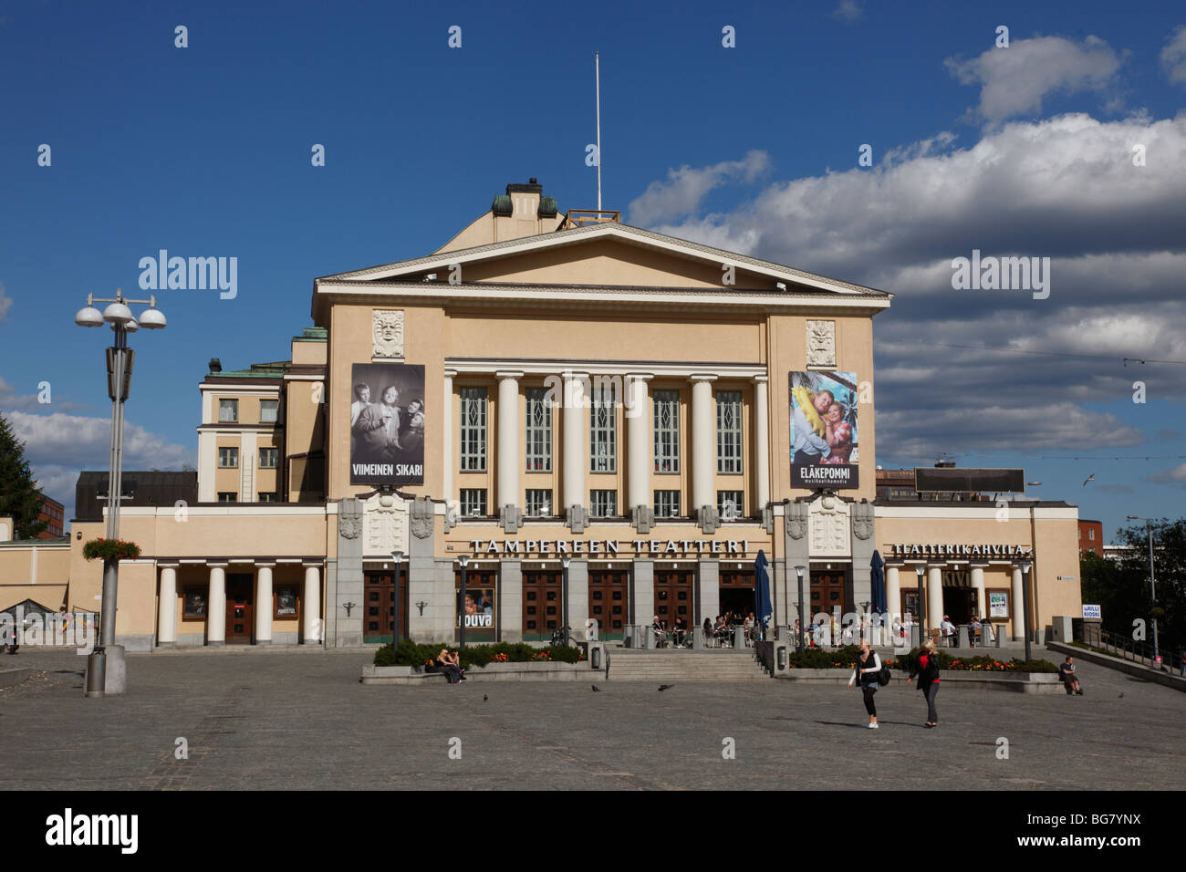 Finland, Region of Pirkanmaa, Tampere, City, Central Square, Neo-Classical Tampere Theatre Stock Photo