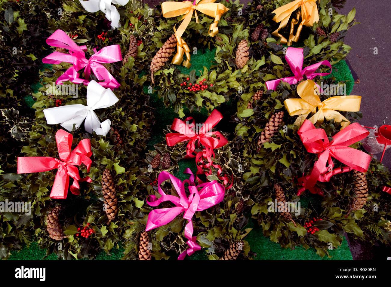 Christmas 2009. Over the top bad taste Christmas wreaths. - Stock Image