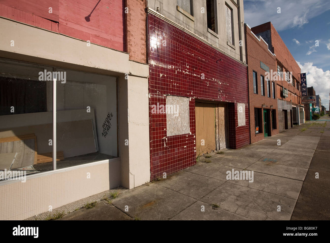 Closed stores in downtown Port Arthur, TX. - Stock Image