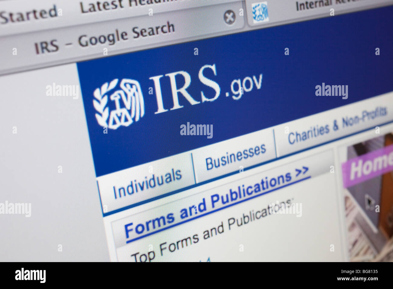 Computer Screen Showing The Website For The Irs Internal Revenue