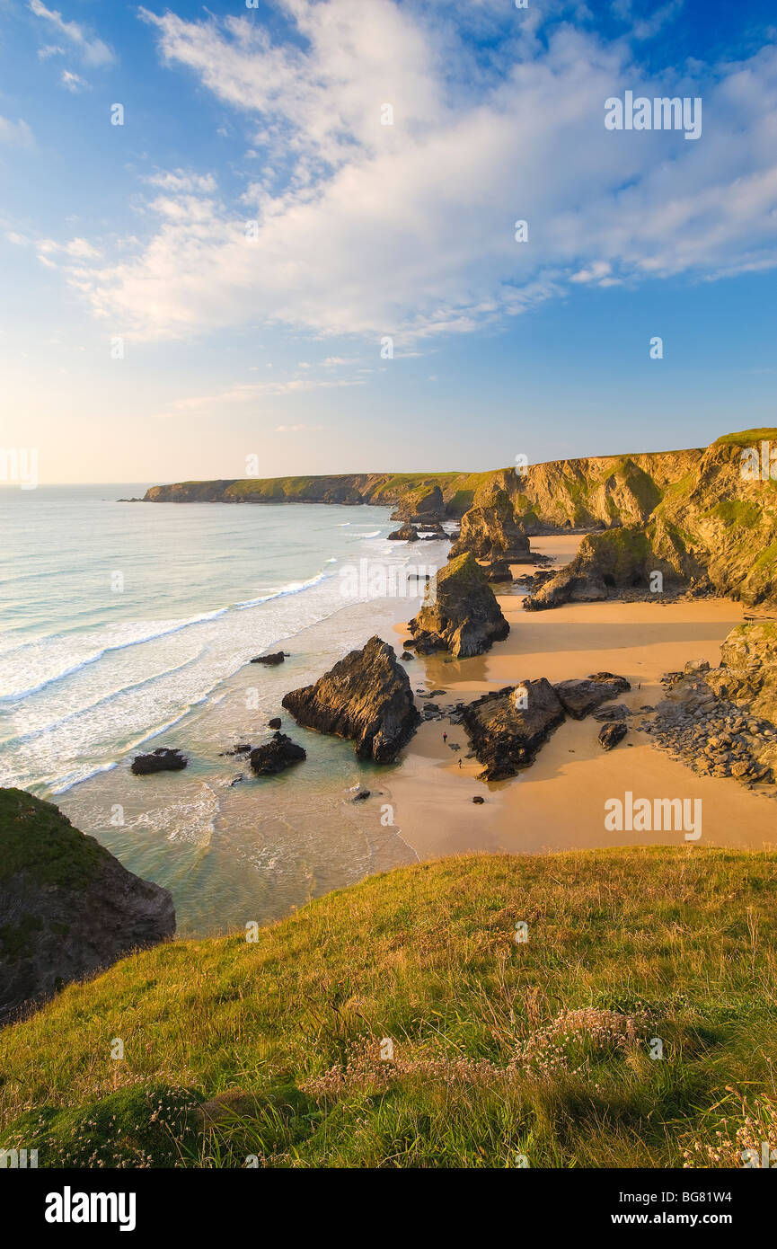 Bedruthan Steps, Cornwall, England, UK - Stock Image