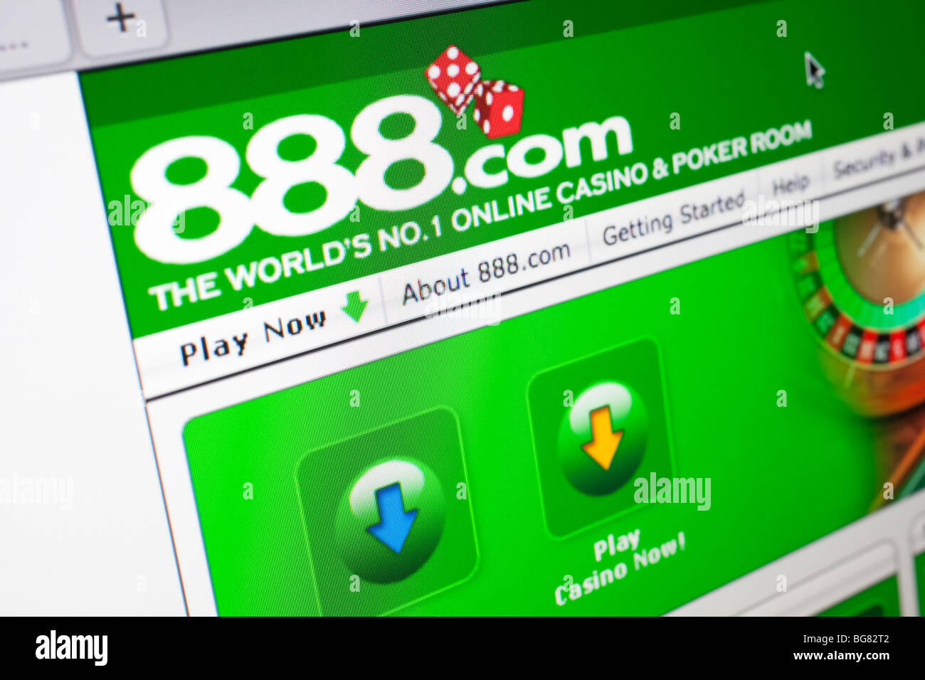 Computer screen showing the website for online gambling and casino site, 888.com - Stock Image