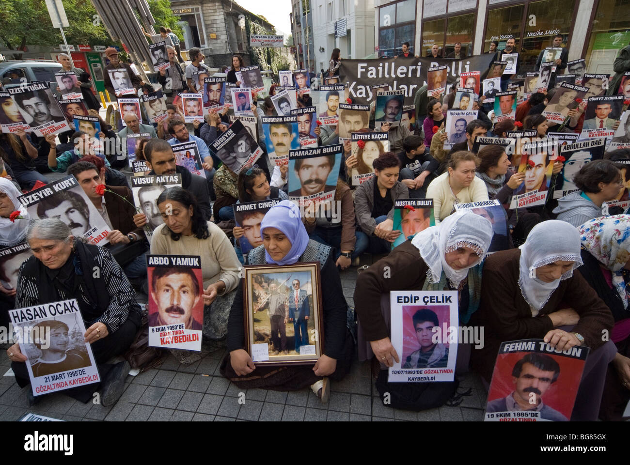 SATURDAY MOTHERS IN ISTANBUL PROTESTING FOR THEIR  DISAPEARED RELATIVES WHILE UNDER POLICE INTERROGATION IN TURKEY - Stock Image