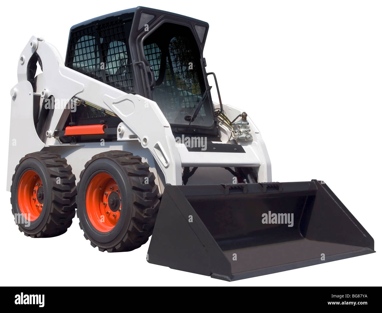 Small white bulldozer isolated with clipping path - Stock Image