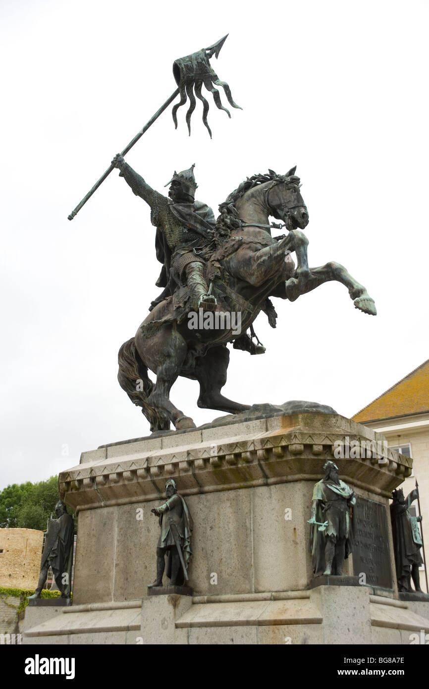 Statue of William the Conqueror in Falaise, Normandy, France - Stock Image
