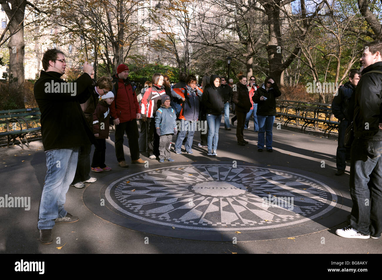 The Imagine mosaic dedicated to former Beatles musician John Lennon at Strawberry Fields in Central Park Manhattan - Stock Image