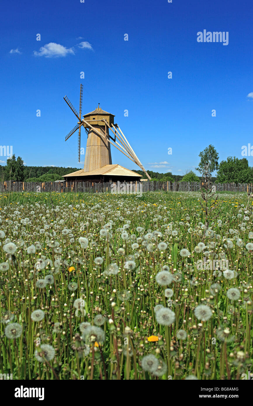 Wooden windmill near the New Jerusalem monastery, Istra, Moscow region, Russia - Stock Image