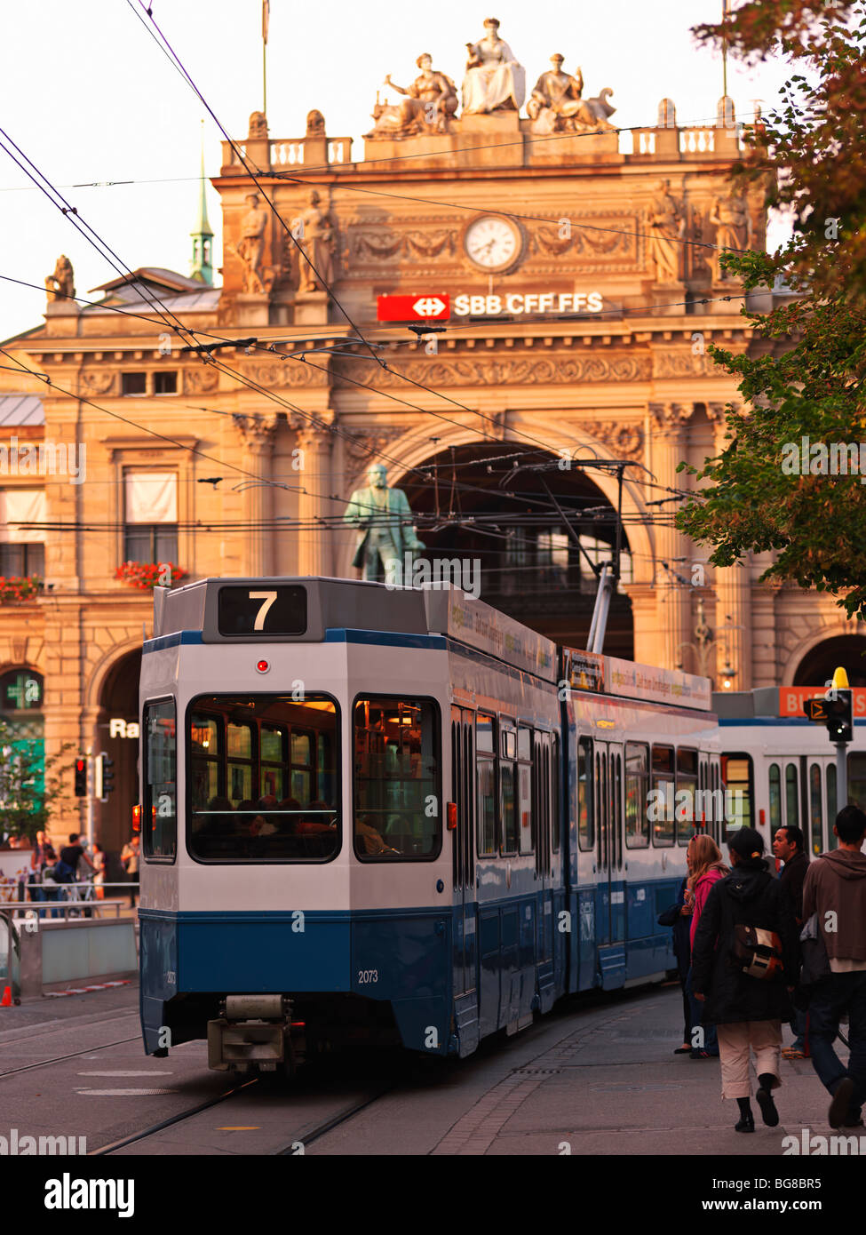 Switzerland, Zurich,tram in front of Hauptbahnhof, Zurich's main railway station - Stock Image