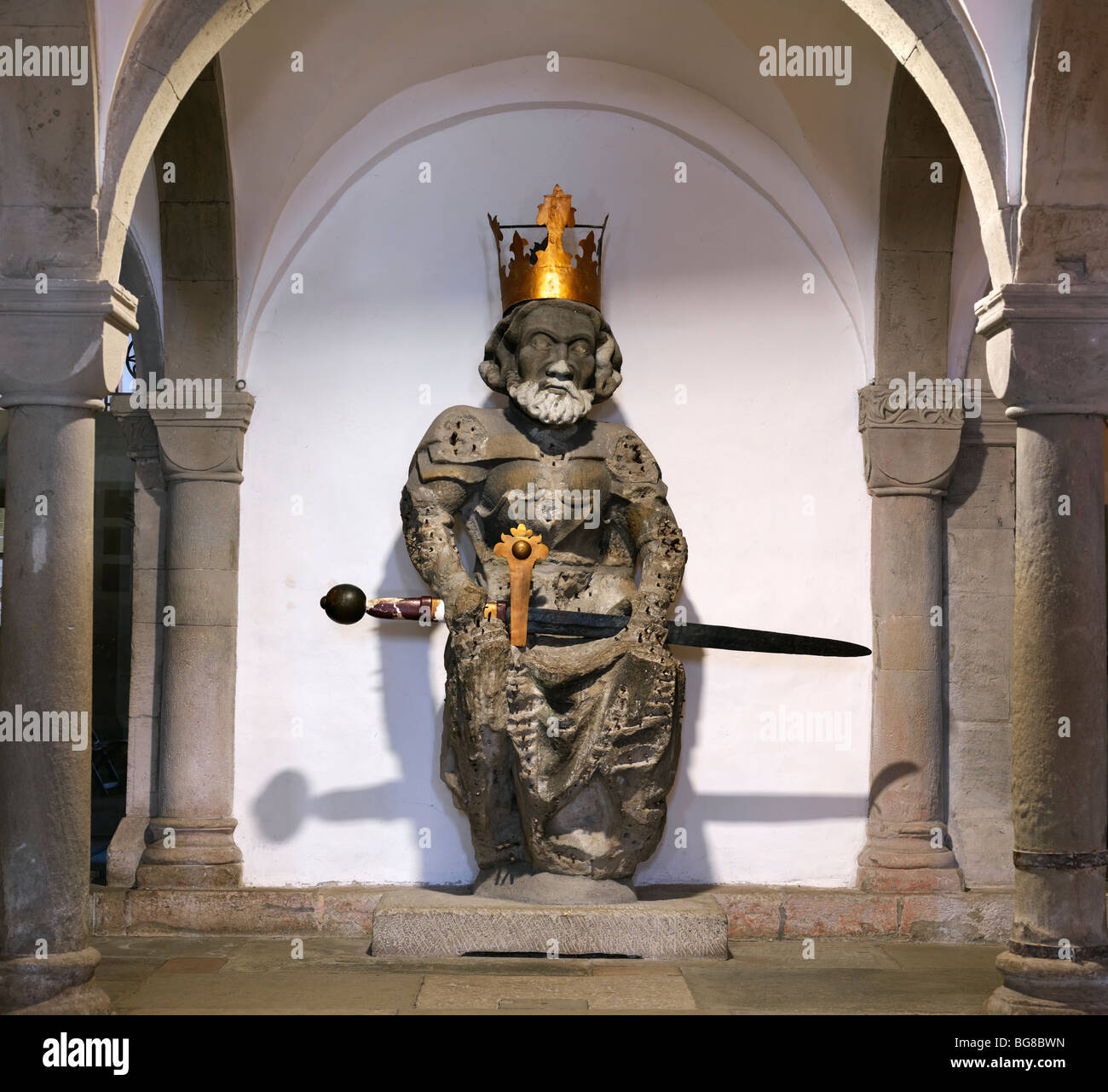 Switzerland, Zurich,statue Emperor Ludwig (Louis the German), the grandson of Charlemagne in the crypt of Fraumünster - Stock Image