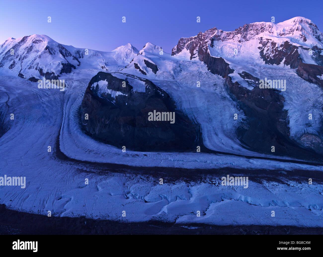 Switzerland, Valais, Zermatt, Gornergrat,peaks of Mount Rosa, Liskamm, and Breithorn and the Gorner Glacier - Stock Image