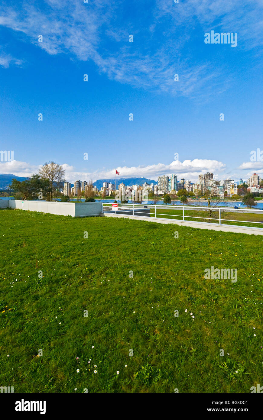 Green rooftop of a building Vanier Park Vancouver, Canada - Stock Image