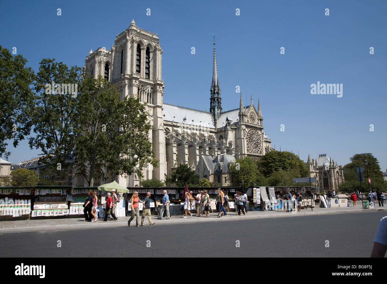Tree lined street with tourists and Cathedral in background - Stock Image