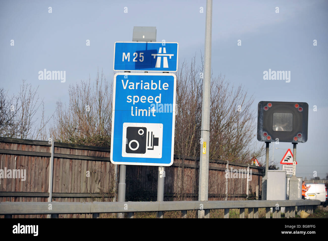 Camera warning sighn on the M25 Near London Uk - Stock Image