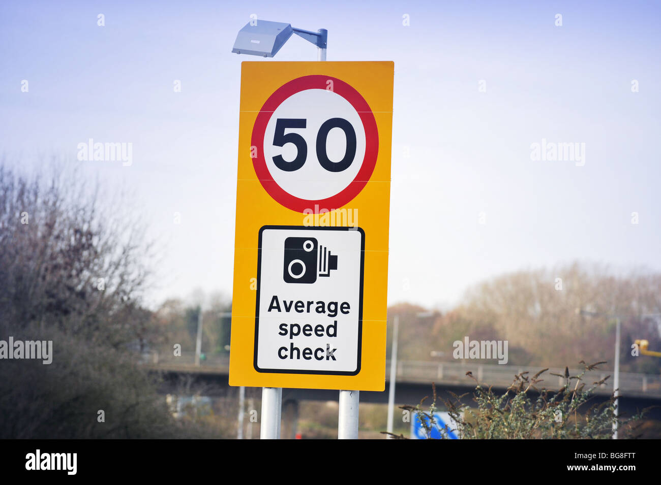 50 Mile an hour Average speed camera warning sighn on the M3 motorway in Surrey England - Stock Image