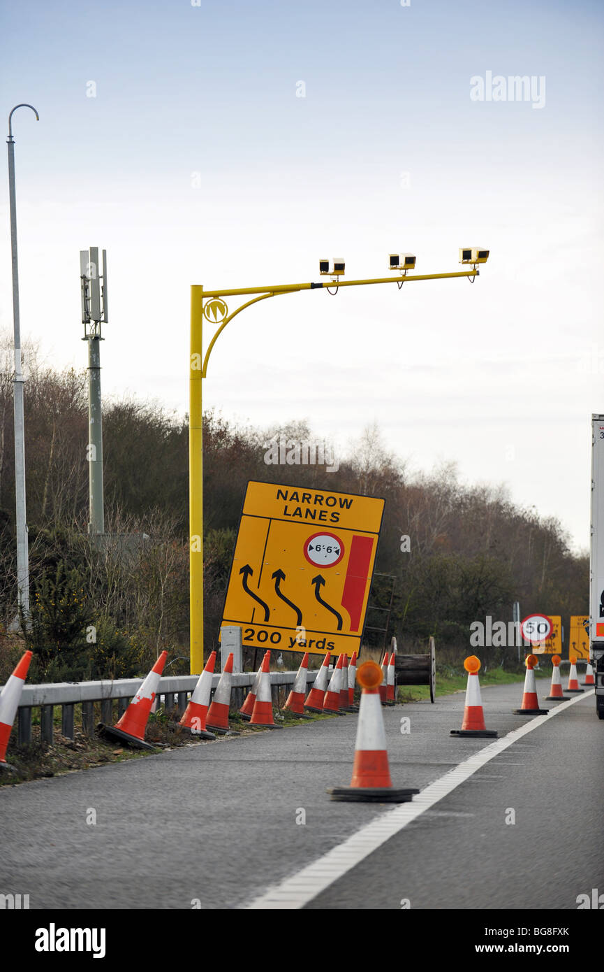 Average speed camera on a 50 mile an hour section of the M3 motorway - Stock Image