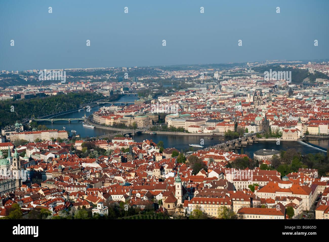 View to the Vltava (Moldau) river, Prague Czech Republic, EU - Stock Image