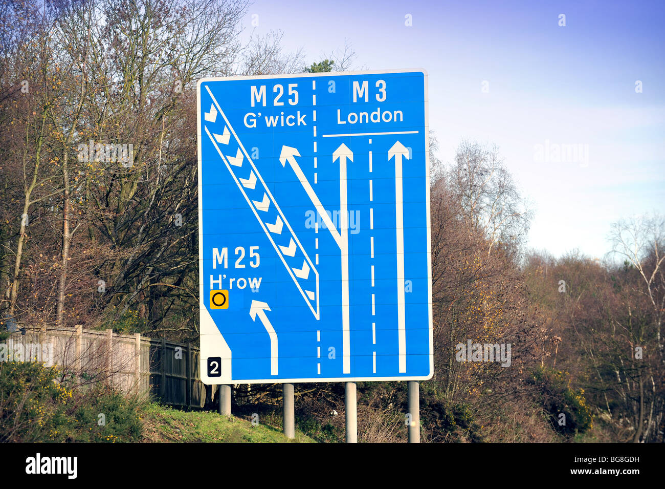 Airport Sighn for Heathrow and Gatwick on the M£ Motorway in Surrey UK - Stock Image