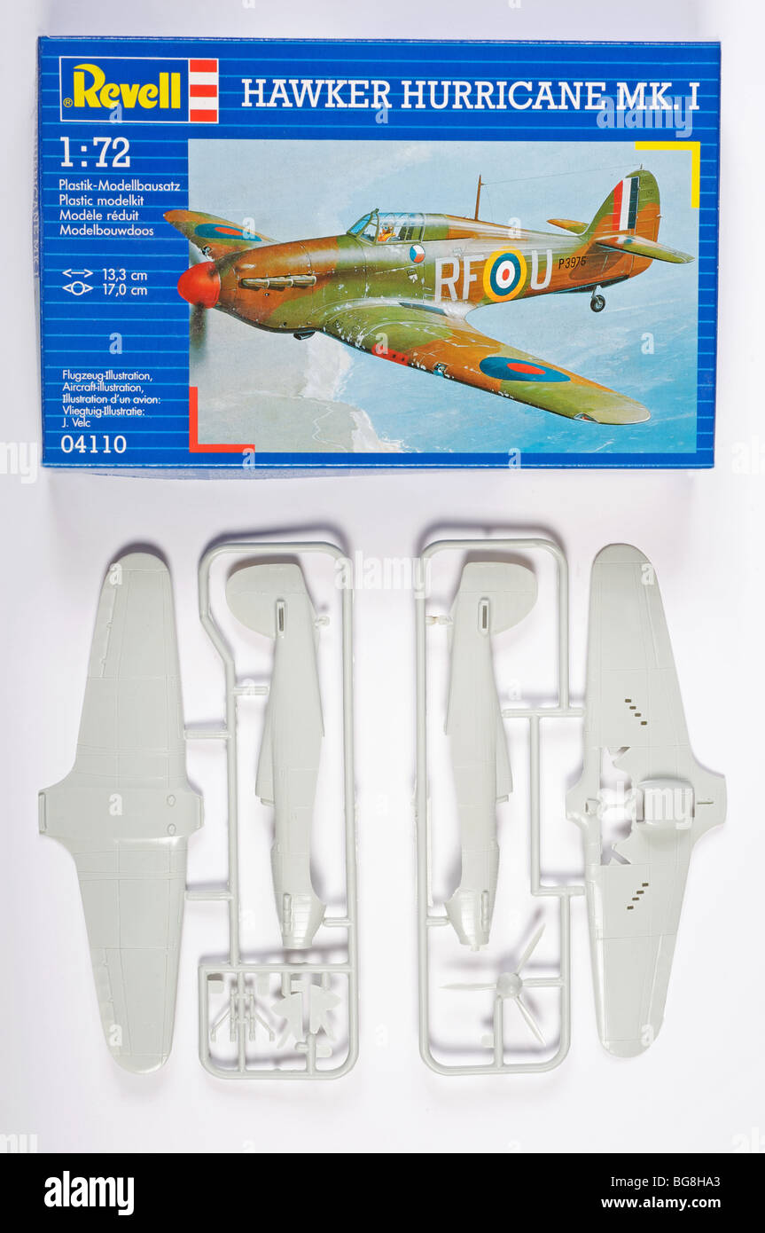 Revell 1:72 scale Hawker Hurricane plastic kit - Stock Image