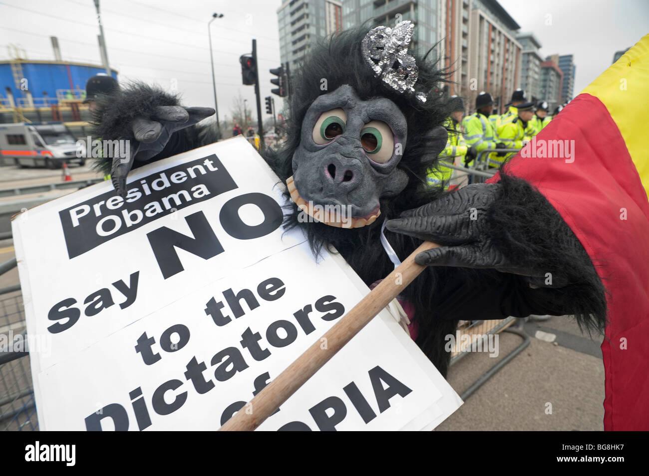 G20 London Demonstration Ogaden Flag Stock Photos & G20