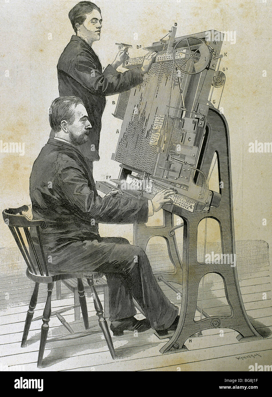 Typographic composing new machine. Engraving by W. Meyer for 'Artistic Illustration', 1885. - Stock Image