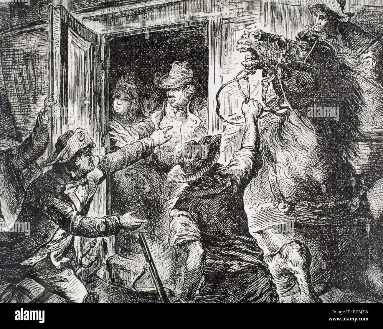 Detention of Louis XVI at Varennes. France. - Stock Image