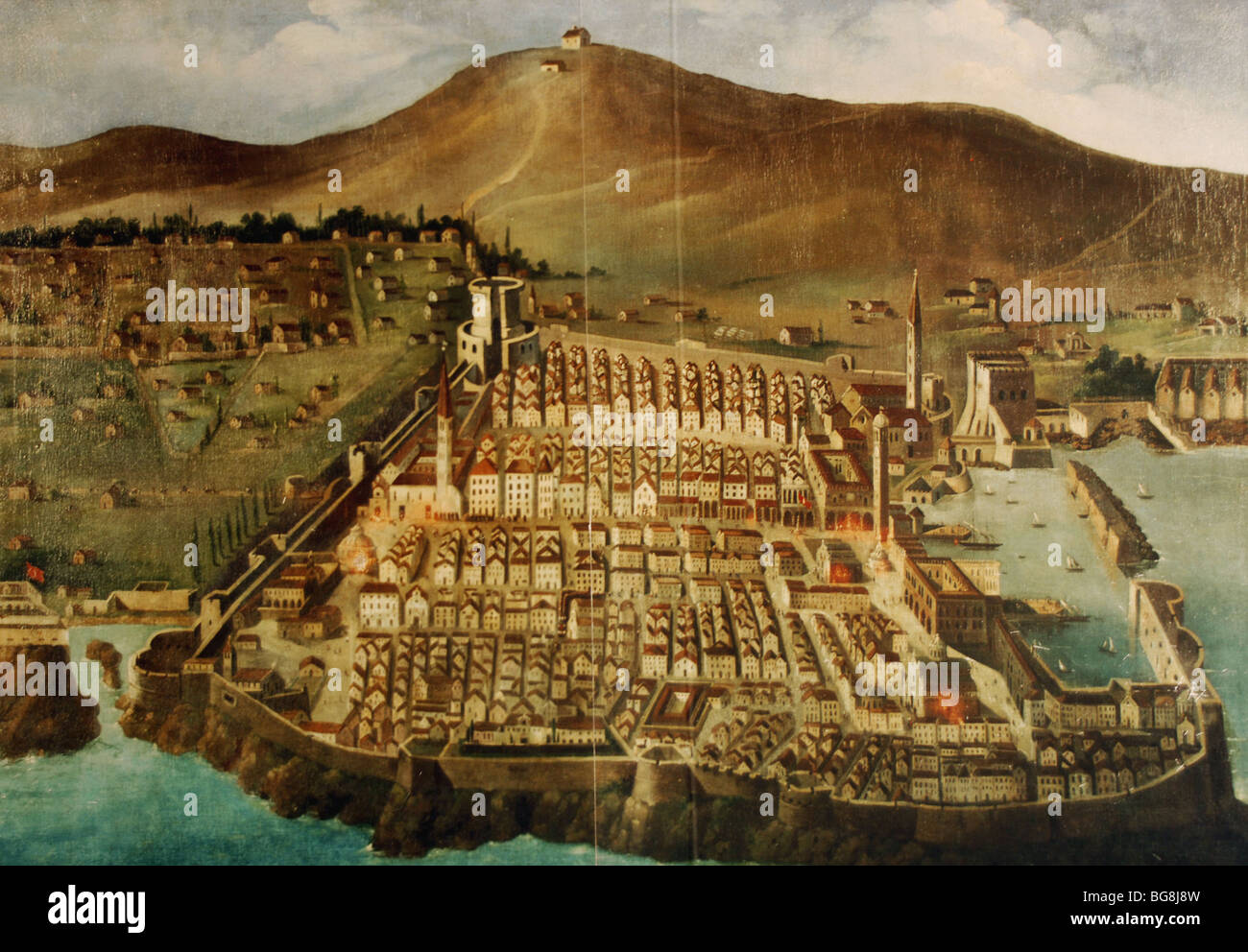 Dubrovnik. Map of the city before the earthquake of 1667. Croatia. - Stock Image