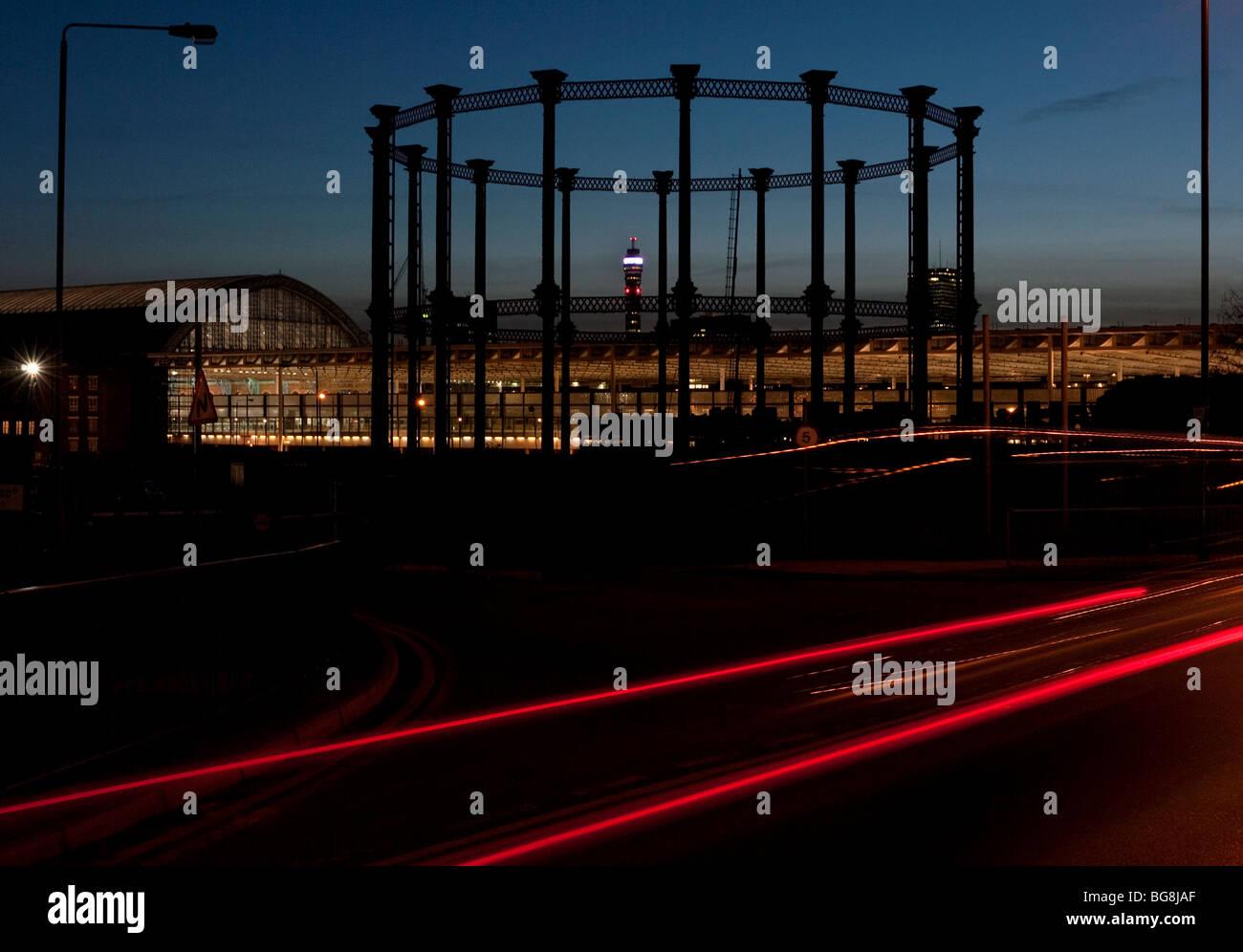 Gas storage structure next to St Pancras International Station - Stock Image
