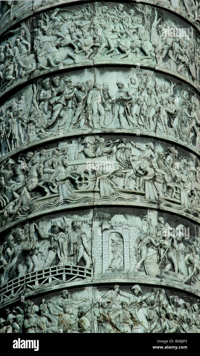 Column Vendome erected by Napoleon Bonaparte to conmemorate the Battle of Austerlitz. Reliefs. Vendome Square. Paris. - Stock Image