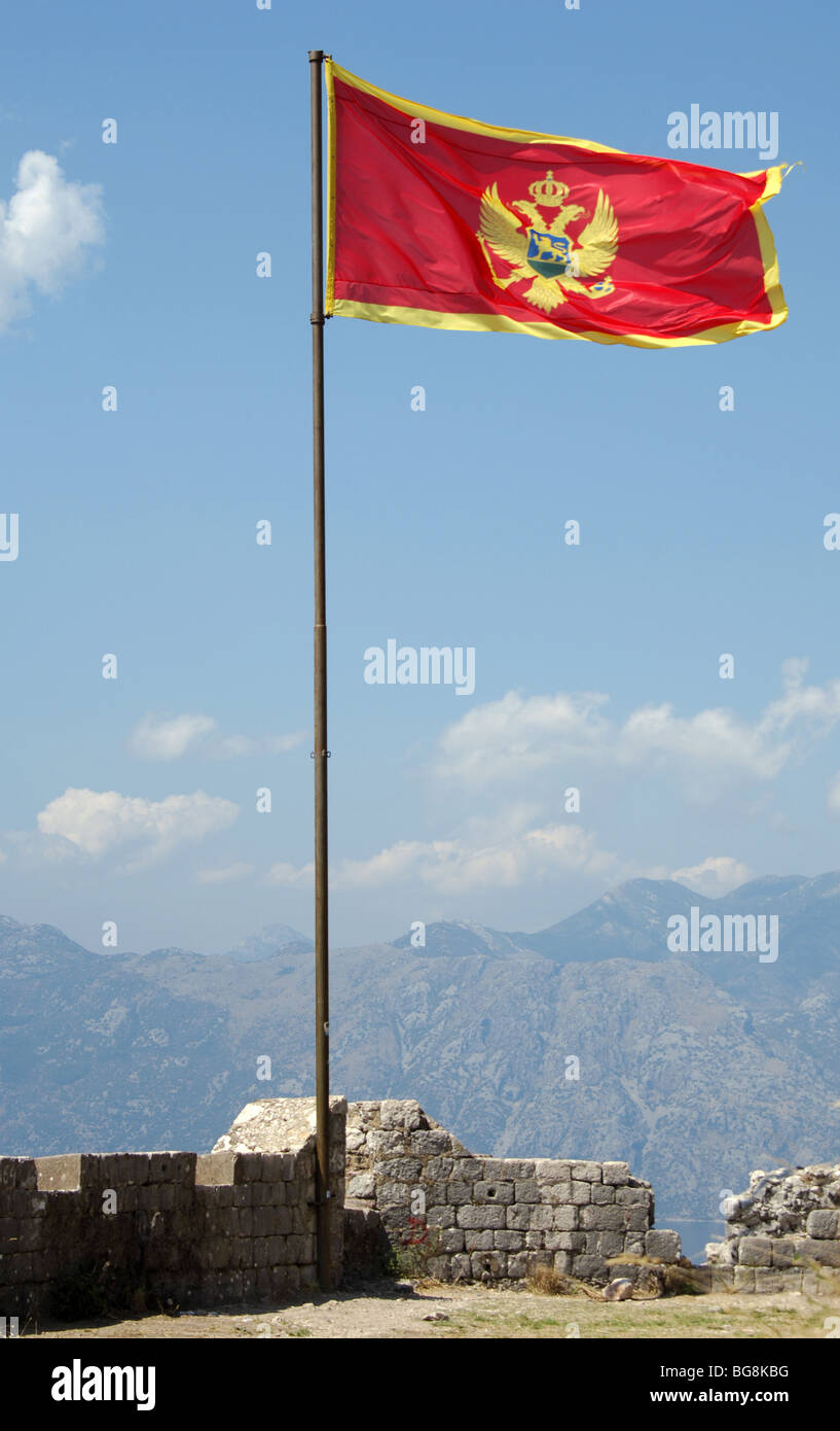 Flag of the Republic of Montenegro. Kotor Stock Photo