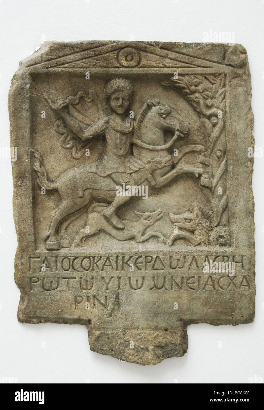 Marble funerary relief depicting a thracian horseman. - Stock Image