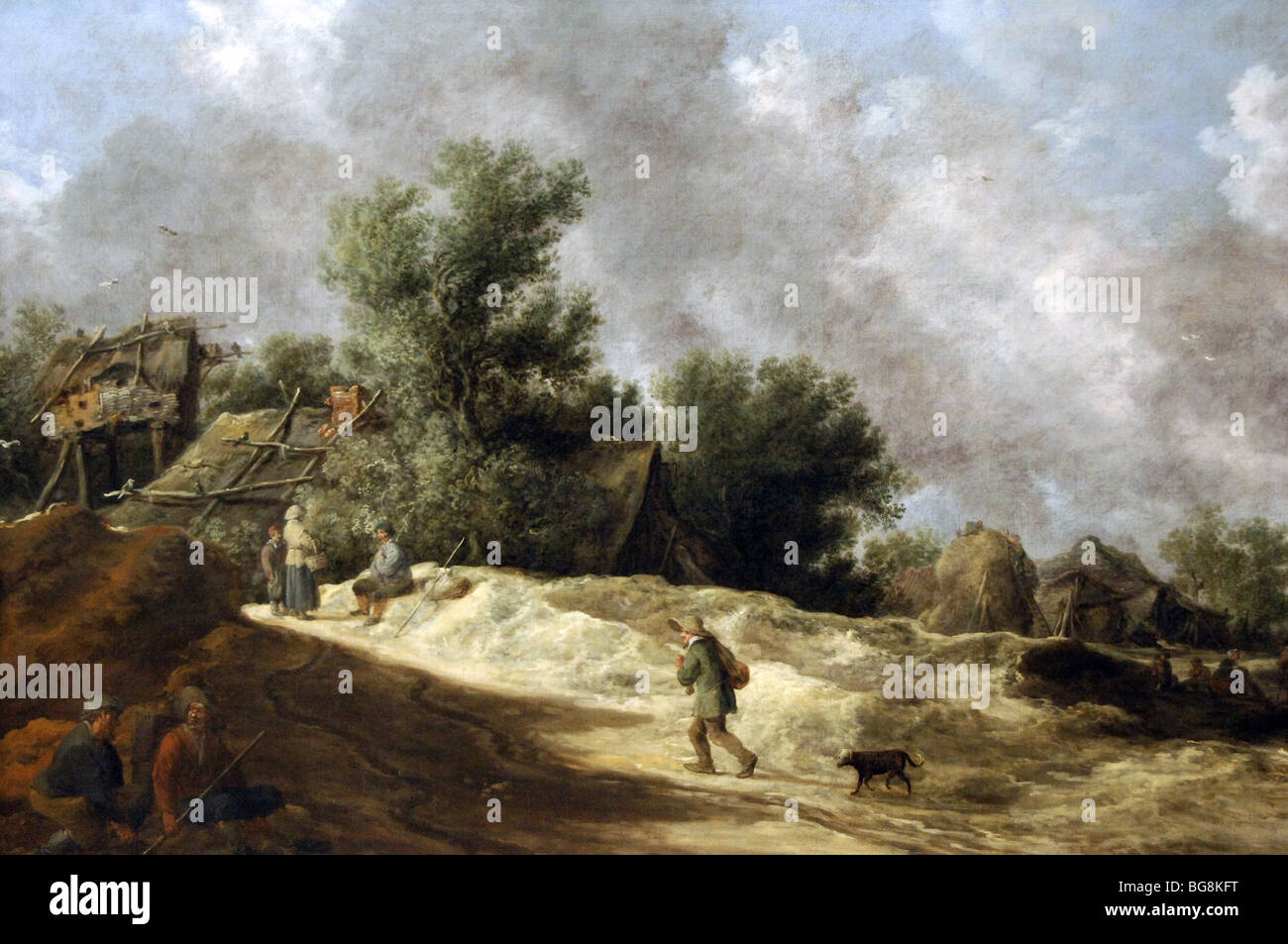 GOYEN, Jan Van (1596-1656). Dutchman painter. Outskirts of a village with travelers, 1630. - Stock Image