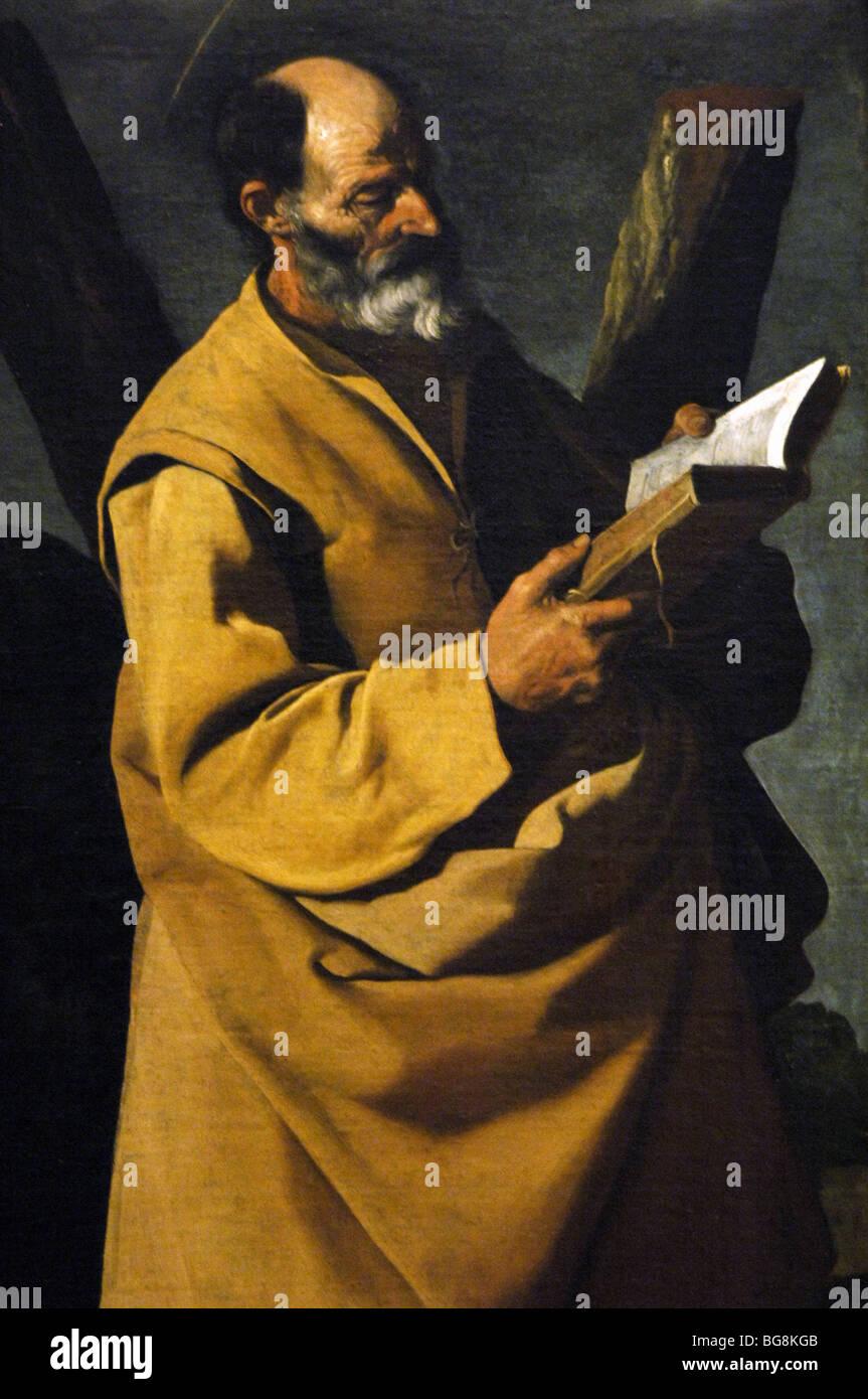 Zurbarán, Francisco de (Fuente de Cantos, 1598-Madrid, 1664). Spanish painter. Saint Andrew, c. 1635-1640. Detail. Stock Photo