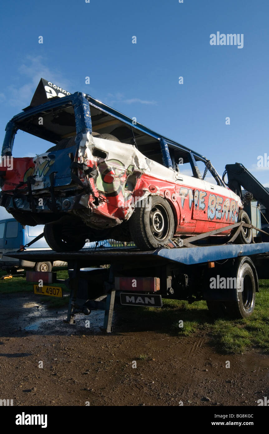 banger racing bangers races race stock car cars smashed up smashing ...
