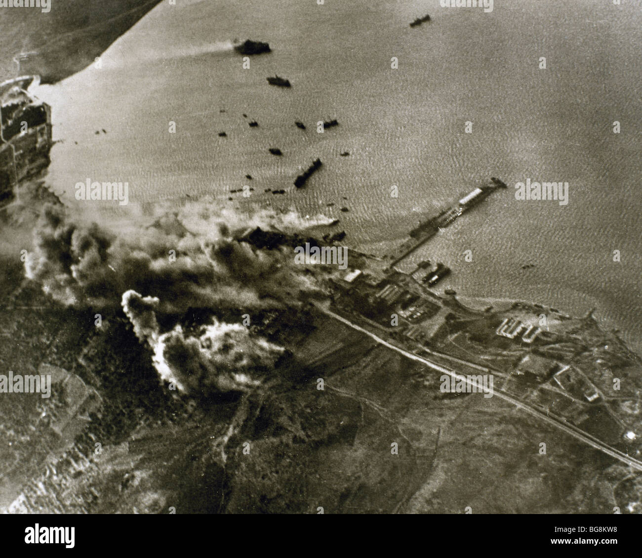 World War II. German aircraft attack against the port of Crete. - Stock Image