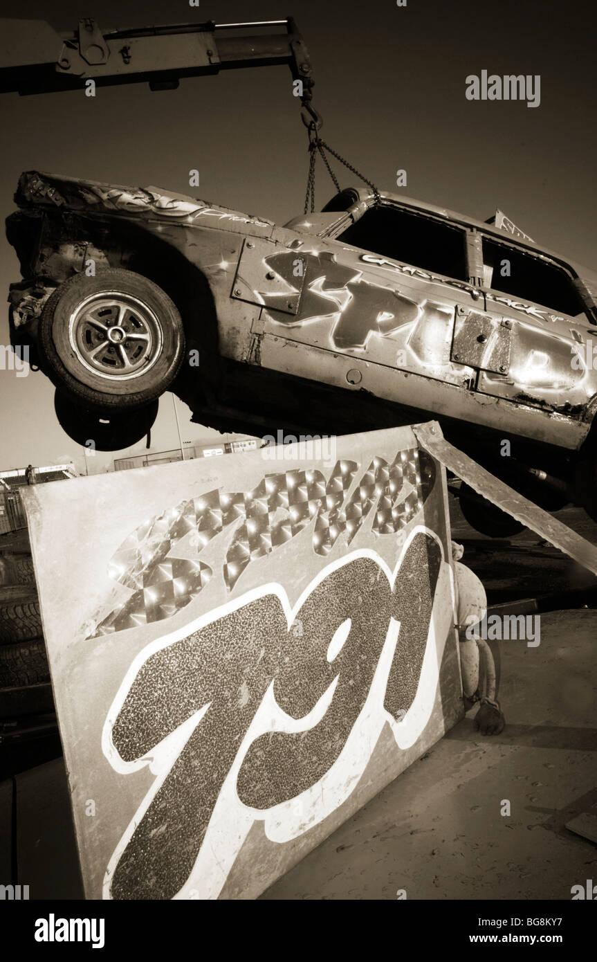 banger racing bangers races race stock car cars smashed up smashing smash crash crashes wreck wrecks junk damage - Stock Image