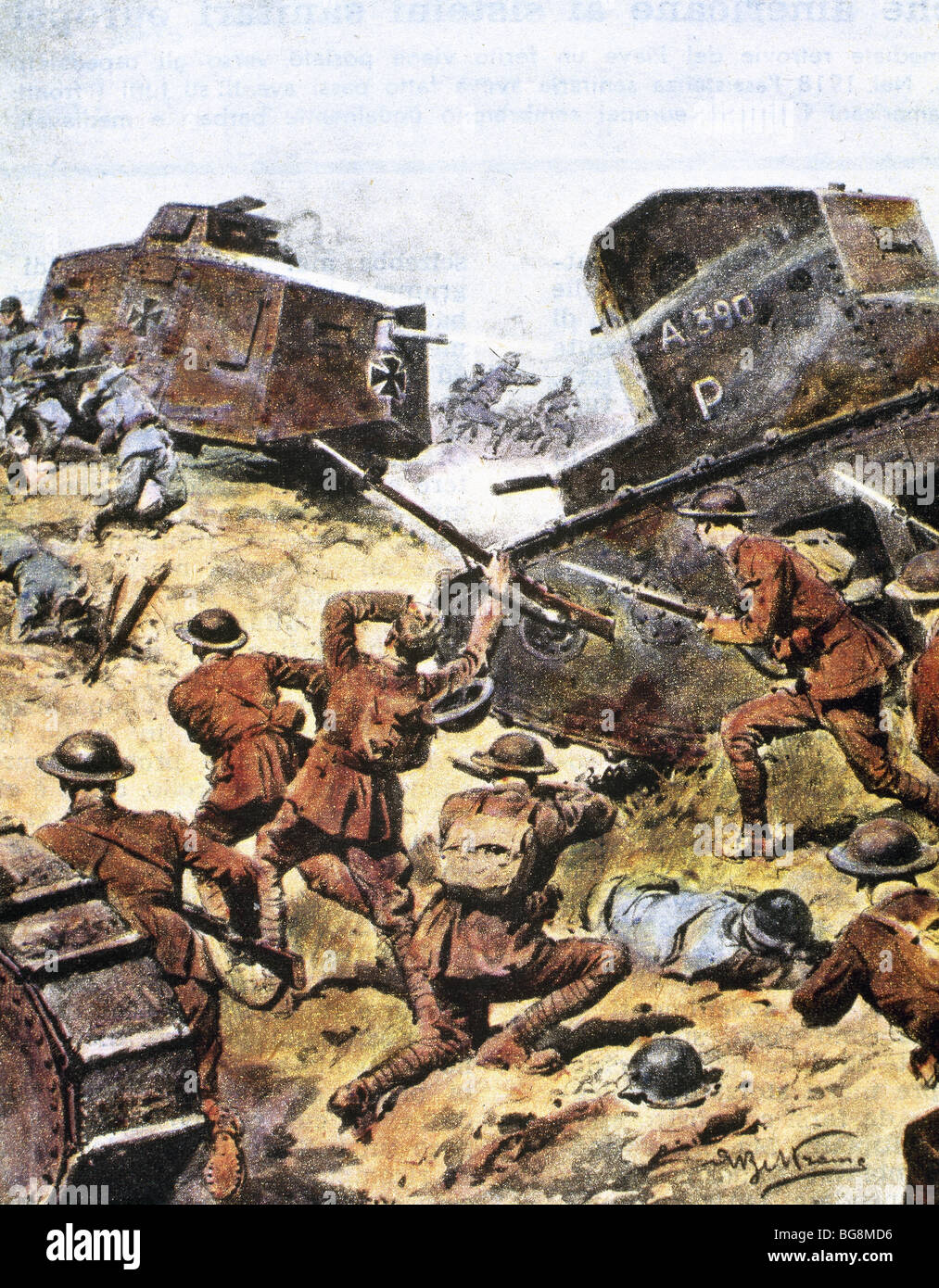 World War I (1914-1918). Battle between Allied and German tanks in May 1918. - Stock Image