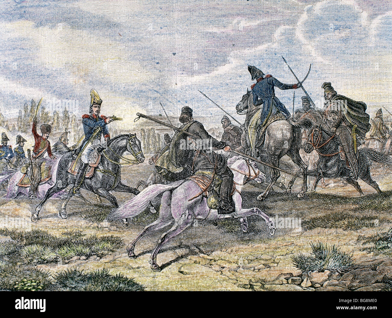 Napoleonic Wars. Fightt between french troops and cosacks on the Russian front. - Stock Image
