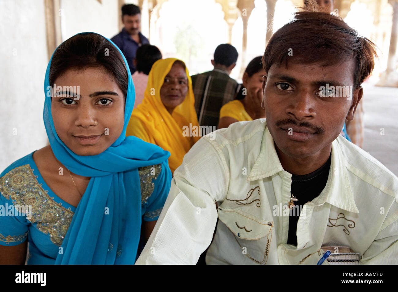 Middle Aged Indian Couple Agra India Asia - Stock Image