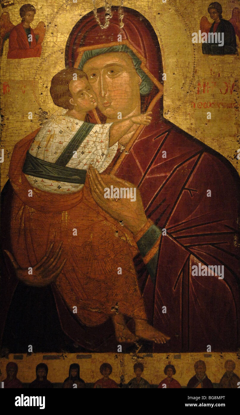 BYZANTINE ART. GREECE. Doubled-sided ICON with VIRGIN HODEGETRIA . - Stock Image