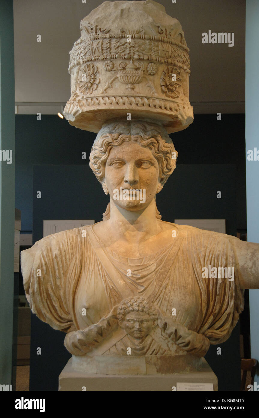 GREEK ART. GREECE. Caryatid from Small Propylaea. Dated in the second half of I century b.C. Museum of Eleusis. - Stock Image