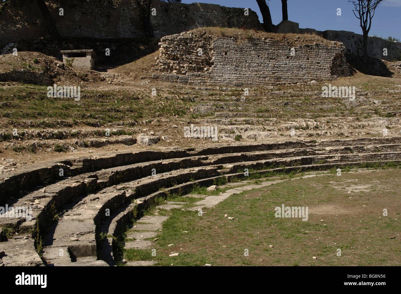 ROMAN ART. CROATIA. Roman Theater, built in the first or second century A.D. Pula. Istrian Peninsula. - Stock Image